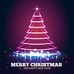 Christmas tree light red vector background