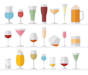 Alcohol glasses flat icon set. Different alcohol beverages