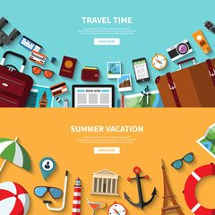Travel time. Summer vacation. Vector concept banners in flat style