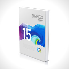 3D Business design template. Cover brochure book flyer magazine layout mockup geometric triangle polygonal, vector illustration