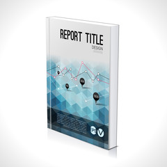 Business design template. Cover brochure book flyer magazine layout mockup geometric triangle polygonal, vector illustration
