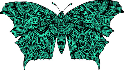 Hand drawn ornamental butterfly vector outline illustration