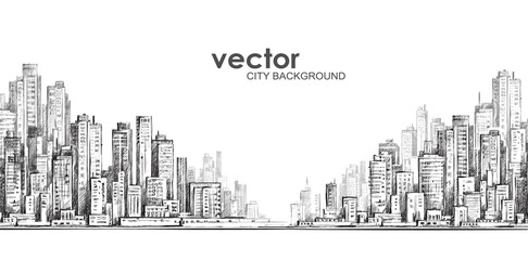Cityscape. Hand drawn vector Fotomurales