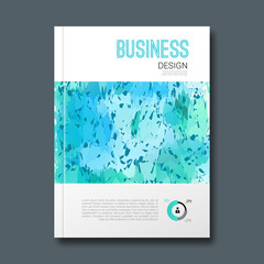 Business design with fresh cold color background. Cover Magazine, report template vector illustration