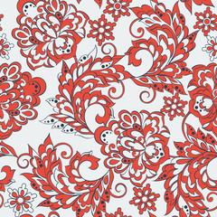 ethnic flowers seamless pattern.