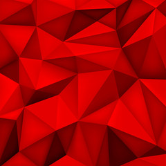 Low polygon shapes background, triangles mosaic, vector design, creative background, templates design, red wallpaper