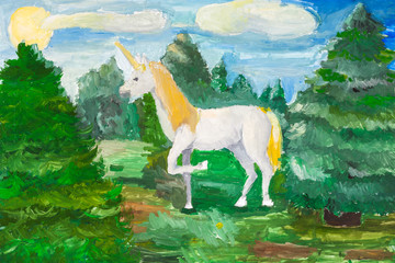 fairy white unicorn in green fir forest