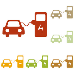Electric car battery charging sign