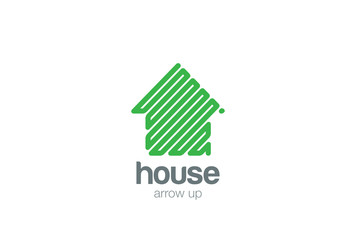 Eco House Logo abstract design vector. Green Arrow up icon