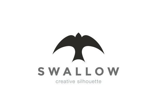 Swallow Logo abstract silhouette vector bird Logotype icon