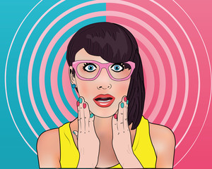 Wow gossip girl in pop art style in the two-color background and pink spiral. Young woman is announcing, telling a secret, shouting or yelling.Comic woman. Gossip girl, Hey,Wow