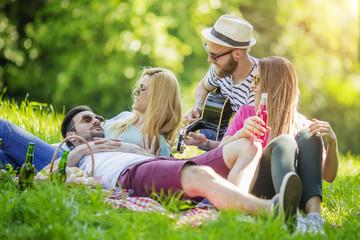 Best friends enjoying picnic together