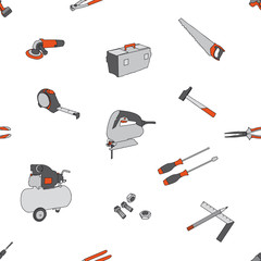 Seamless pattern DIY and tools : hammer, screwdriver, saw, toolbox,pincer,pliers