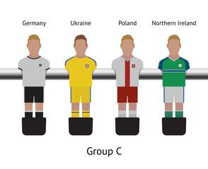 Table football game. foosball soccer player set. Germany, Ukraine, Poland, Northern Ireland