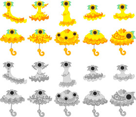 The icons of sunflower dress and parasol