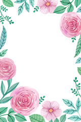 Watercolor floral background. Perfect for greeting cards or invi