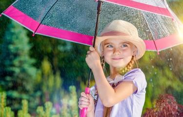 Girl Under Umbrella in the Rain