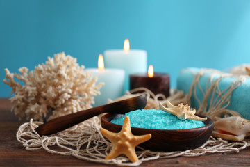 Beautiful spa composition on the table against blue background