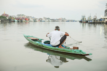 Traditional boat at fisherman village of Thailand