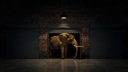 elephant in warehouse door. Creative concept. 3D Rendering
