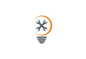 idea maintenance light bulb logo