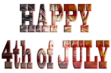 Happy 4th of July with Fireworks Grunge Text Outline