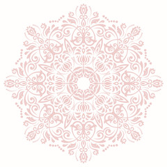 Elegant vector ornament in the style of barogue. Abstract traditional pattern with oriental elements. Light pink round pattern