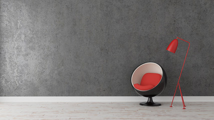 Modern chair with lamp in empty room