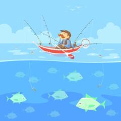 cartoon man no fishing boat, vector