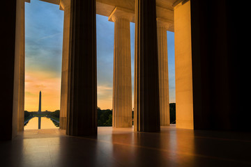 Washington Monument from Lincoln Memorial at Sunrise in Washington, DC
