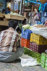 Sales of fruit and vegetables on indian market