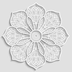 3D  lace mandala, lacy paper doily, decorative flower, decorative snowflake,  lace pattern, arabic ornament, indian ornament, embossed pattern,  vector