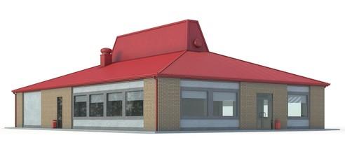 Fast food restaurant building on white background.3d render