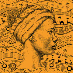 Girl girl with a turban on African hand-drawn ethno pattern, tribal background. Beautiful black woman. Profile view. Hand draw vector illustration