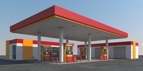 Illustration of a gas station against the sky. 3d render.