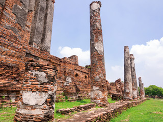 Old Temple Architecture in Ayutthaya Historical Park, Ayutthaya,