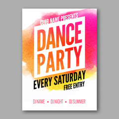Dance Party Poster Template. Night Dance Party flyer. DJ session. Club party design template on dark colorful background. Dance party watercolor background.