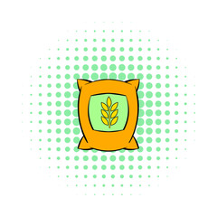 Bag of wheat icon, pop-art style