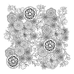 Adult coloring book page. Vector blossom floral ornament. Vector pattern with doodle ornament.. Zentangle design for decoration