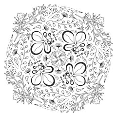 Vector circle floral ornament. Adult coloring book page. Vector design for decoration
