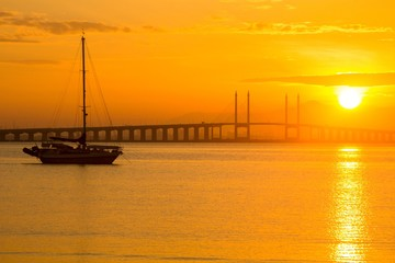 Sunrise in view of Penang Bridge, George Town, Penang Malaysia