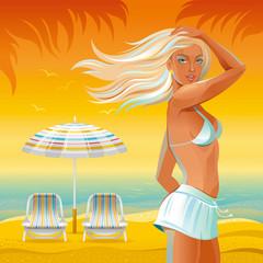 Evening beach background with beautiful tan girl standing near the umbrella