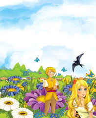 Cartoon scene of fairy prince and princes or king and queen - illustration for children