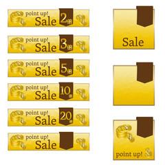 ポイントアップ、point up、セール、バナー、パターン、ゴールド、和風、ゴージャス、倍、通販