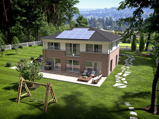 House with garden and solar panels on roof. 3d rendering