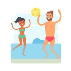 Beach games vector illustration.