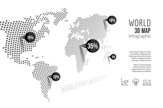 World map infographic. 3D map concept with percents and pins