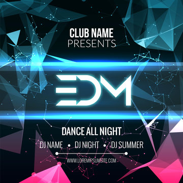 Modern EDM Music Party Template, Dance Party Flyer, brochure. Night Party Club Banner Poster.
