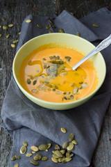 Pumpkin cream soup with sunflower seeds