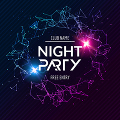 Night Party poster. Shiny banner club disco. Dj dance summer invitation